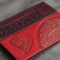 """Обложка на паспорт """"Сердечки"""" натуральная кожа"""