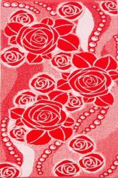 """Полотенце  """"Розы с жемчугом"""" красное"""