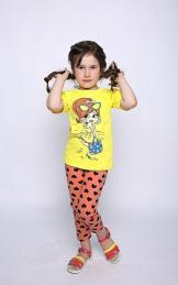 Футболка девочка с шелкографией Размер 32-38 (кулирка) 5 шт.