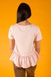 Блузка с воланом внизу Ф 006 (нежно-розовая)