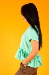 Блузка с воланом внизу Ф 006 (нежная мята)