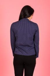 Блузка с бантом Ф 076 (мелкий горох на т.синем)