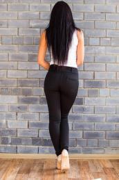 Облегающие брюки с карманами и шлёвками  Ш 001 (ЧЕРНЫЕ)