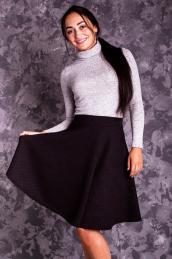 Стеганая юбка-солнце Ю 004 (черная)