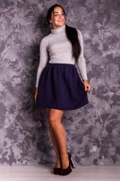 Стеганая юбка-колокол Ю 005  (чернильная)