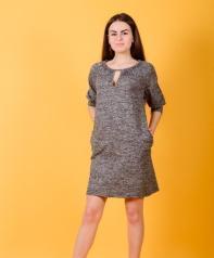 Платье П 570 (серый меланж)