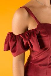 Велюровое вечернее платье П 112  (бордо)