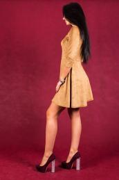 Замшевое платье П 117 (коричневое)