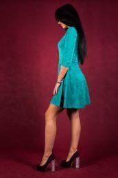 Замшевое платье П 117 (изумрудное)