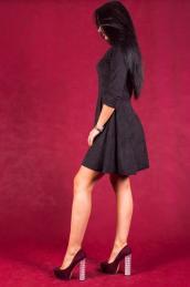 Замшевое платье П 117 (черное)