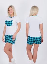 Пижама Д 29 (белый + изумрудная клетка)
